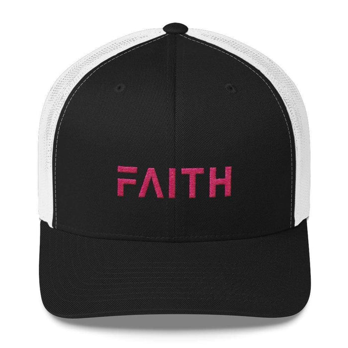 Faith Christian Snapback Trucker Hat Embroidered In Pink Thread - One-Size / Black And White - Hats