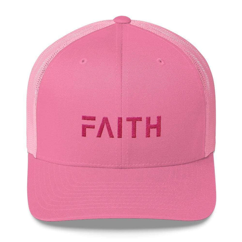 Faith Christian Snapback Trucker Hat Embroidered In Pink Thread - One-Size / Pink - Hats