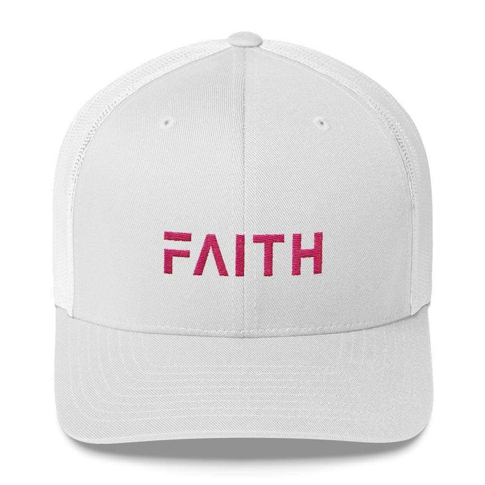 Faith Christian Snapback Trucker Hat Embroidered In Pink Thread - One-Size / White - Hats