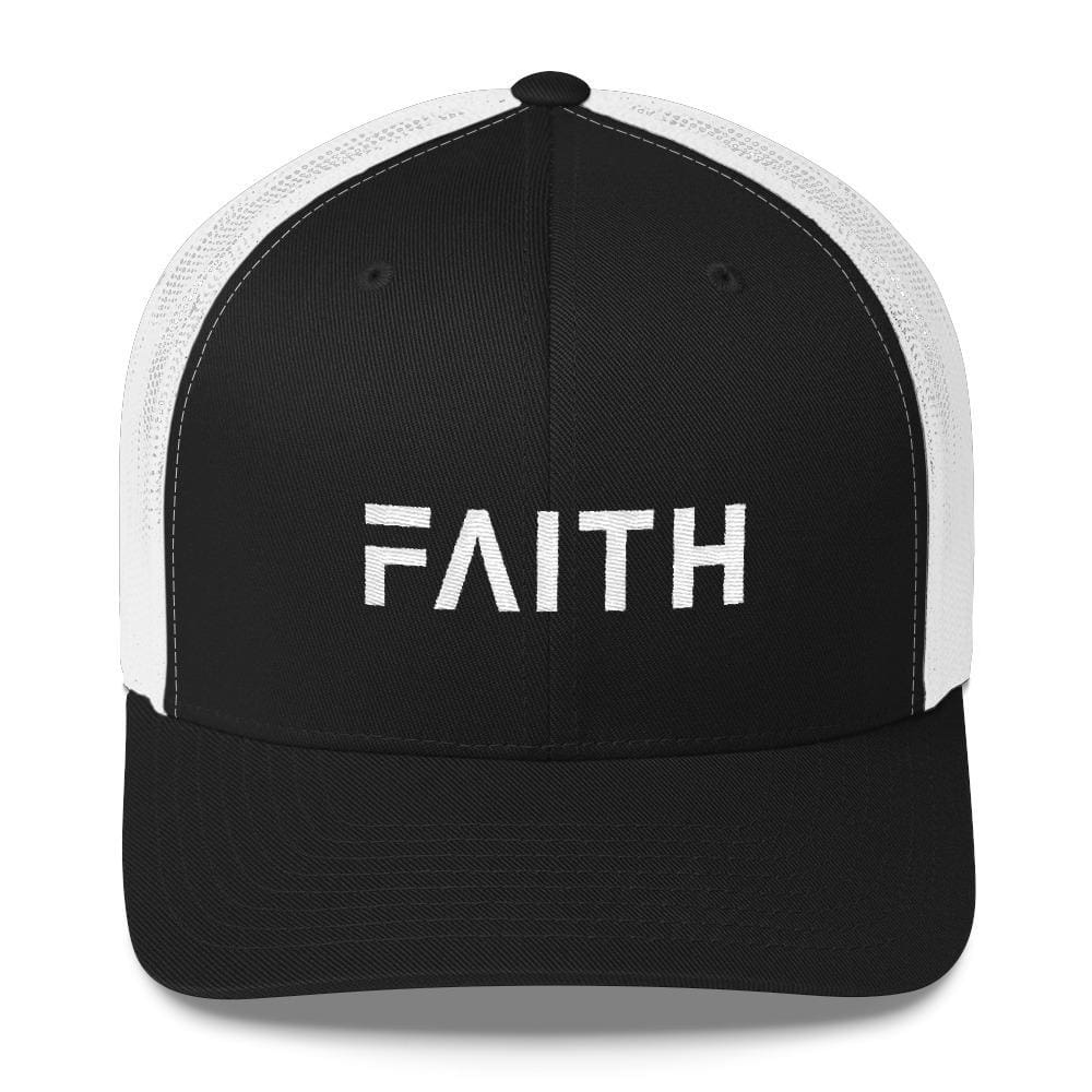 Load image into Gallery viewer, FAITH Christian Snapback Trucker Hat Embroidered in White Thread - One-size / Black and White - Hats
