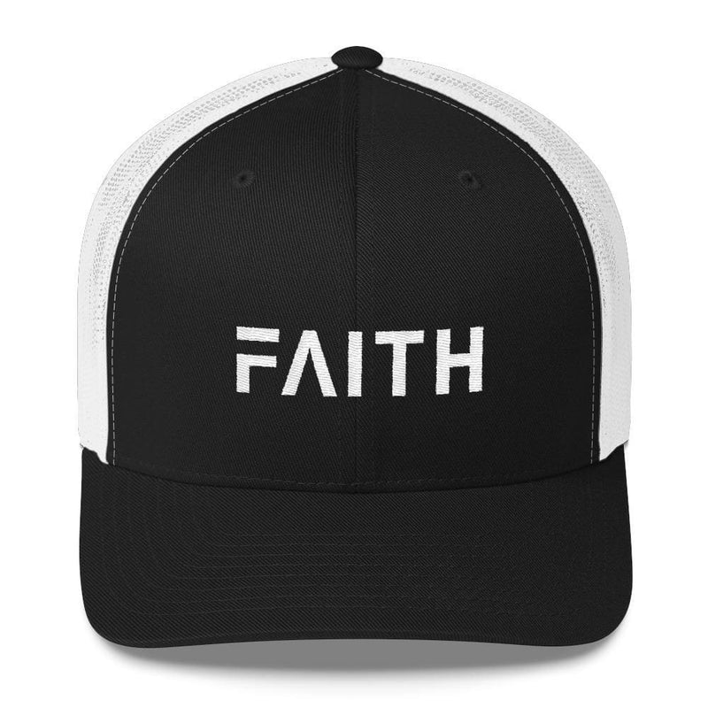 FAITH Christian Snapback Trucker Hat Embroidered in White Thread - One-size / Black and White - Hats