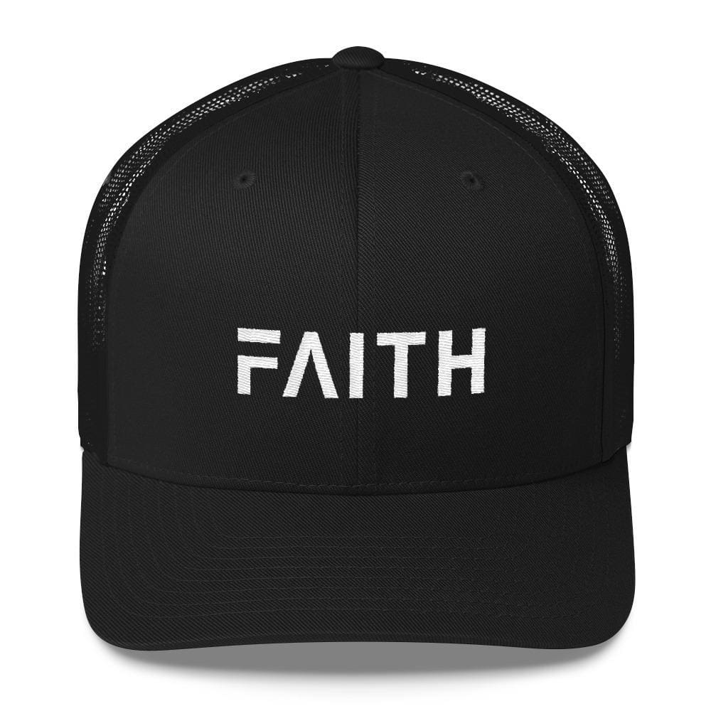 Load image into Gallery viewer, FAITH Christian Snapback Trucker Hat Embroidered in White Thread - One-size / Black - Hats