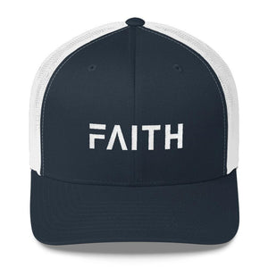 Load image into Gallery viewer, FAITH Christian Snapback Trucker Hat Embroidered in White Thread - One-size / Navy and White - Hats