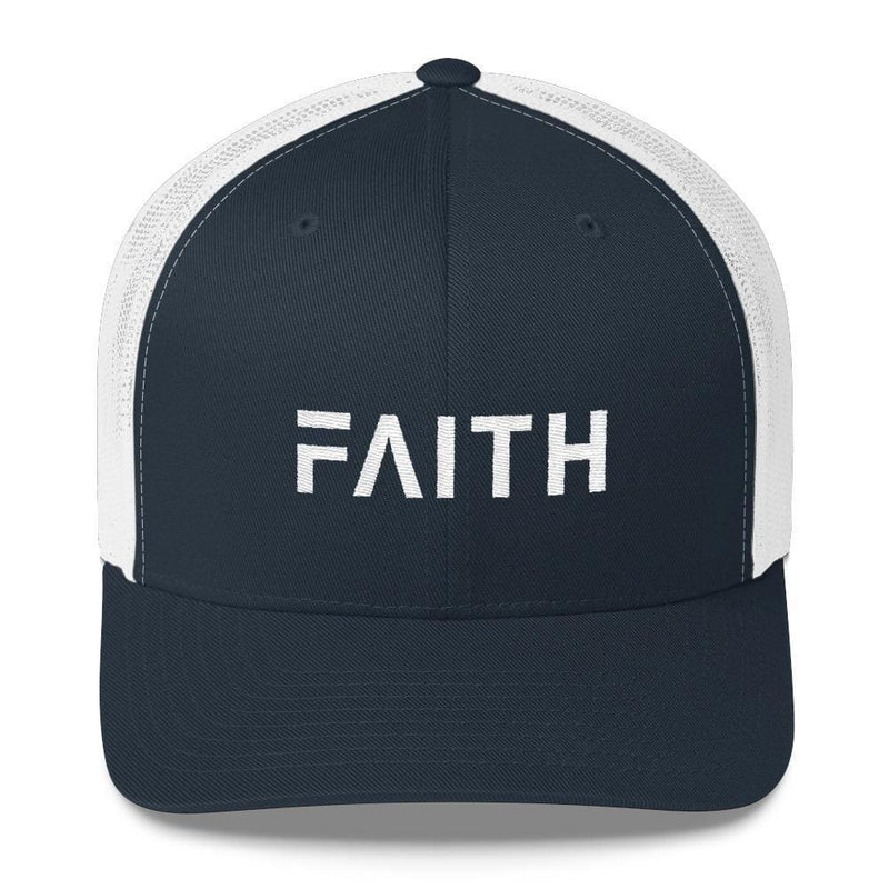 FAITH Christian Snapback Trucker Hat Embroidered in White Thread - One-size / Navy and White - Hats