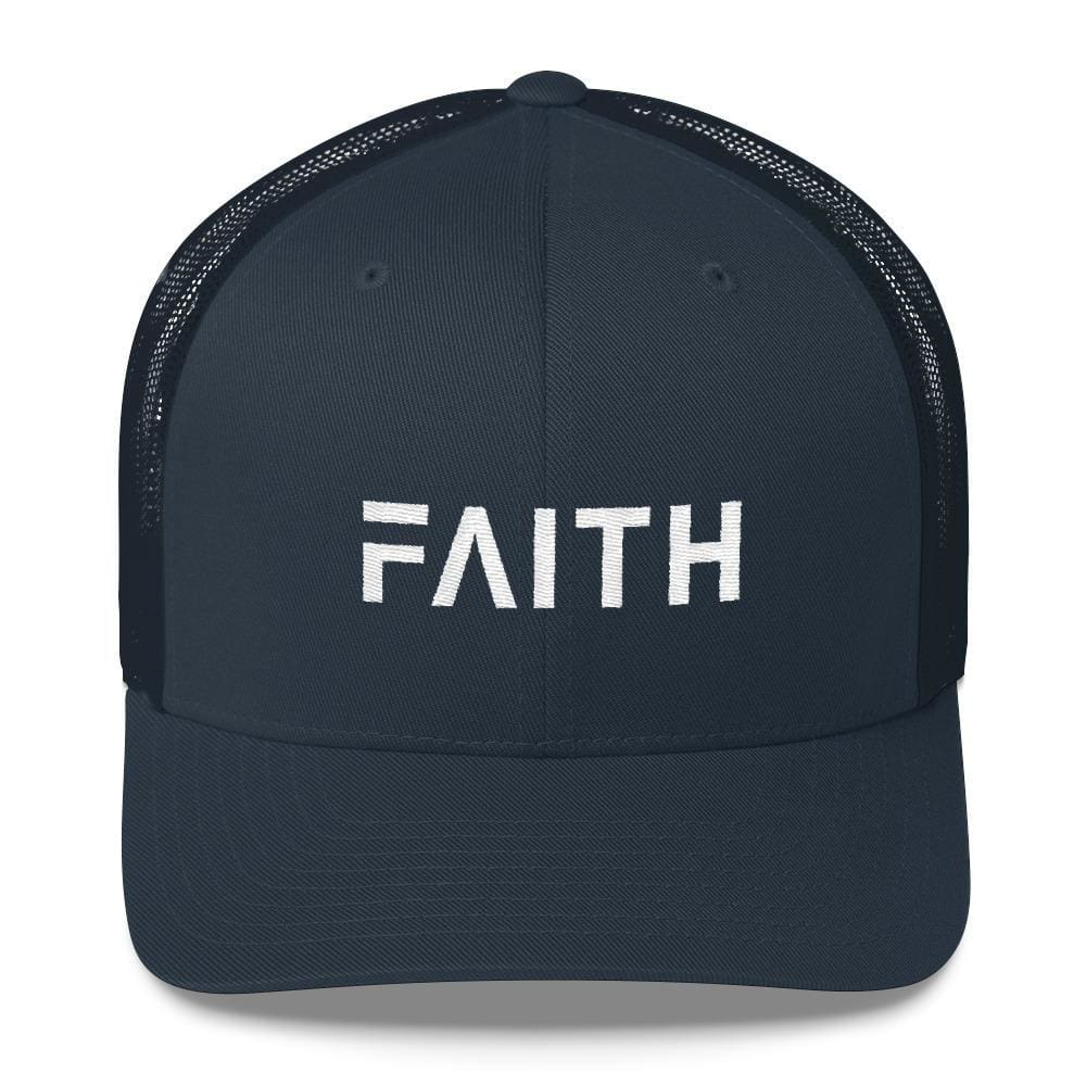 Load image into Gallery viewer, FAITH Christian Snapback Trucker Hat Embroidered in White Thread - One-size / Navy - Hats