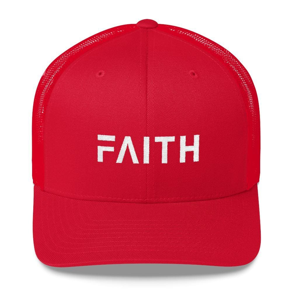 FAITH Christian Snapback Trucker Hat Embroidered in White Thread - One-size / Red - Hats