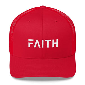 Load image into Gallery viewer, FAITH Christian Snapback Trucker Hat Embroidered in White Thread - One-size / Red - Hats