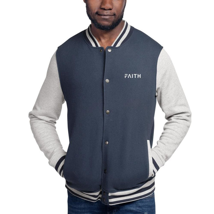 Faith Embroidered Champion Bomber Jacket