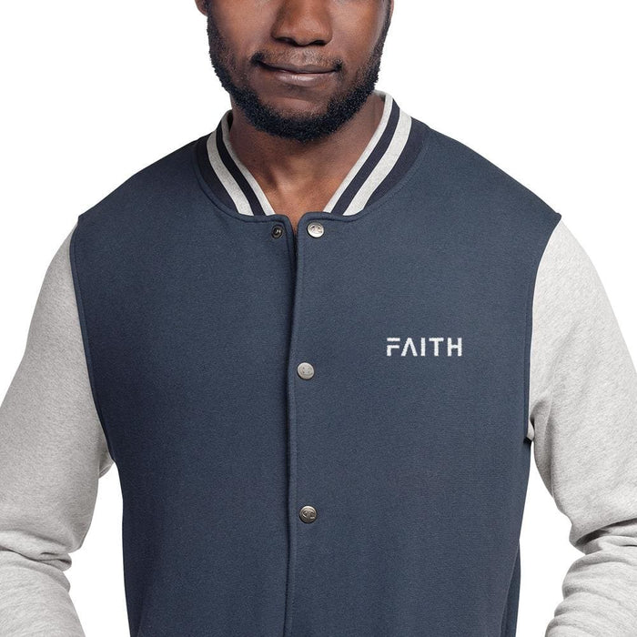 Faith Embroidered Champion Bomber Jacket - S