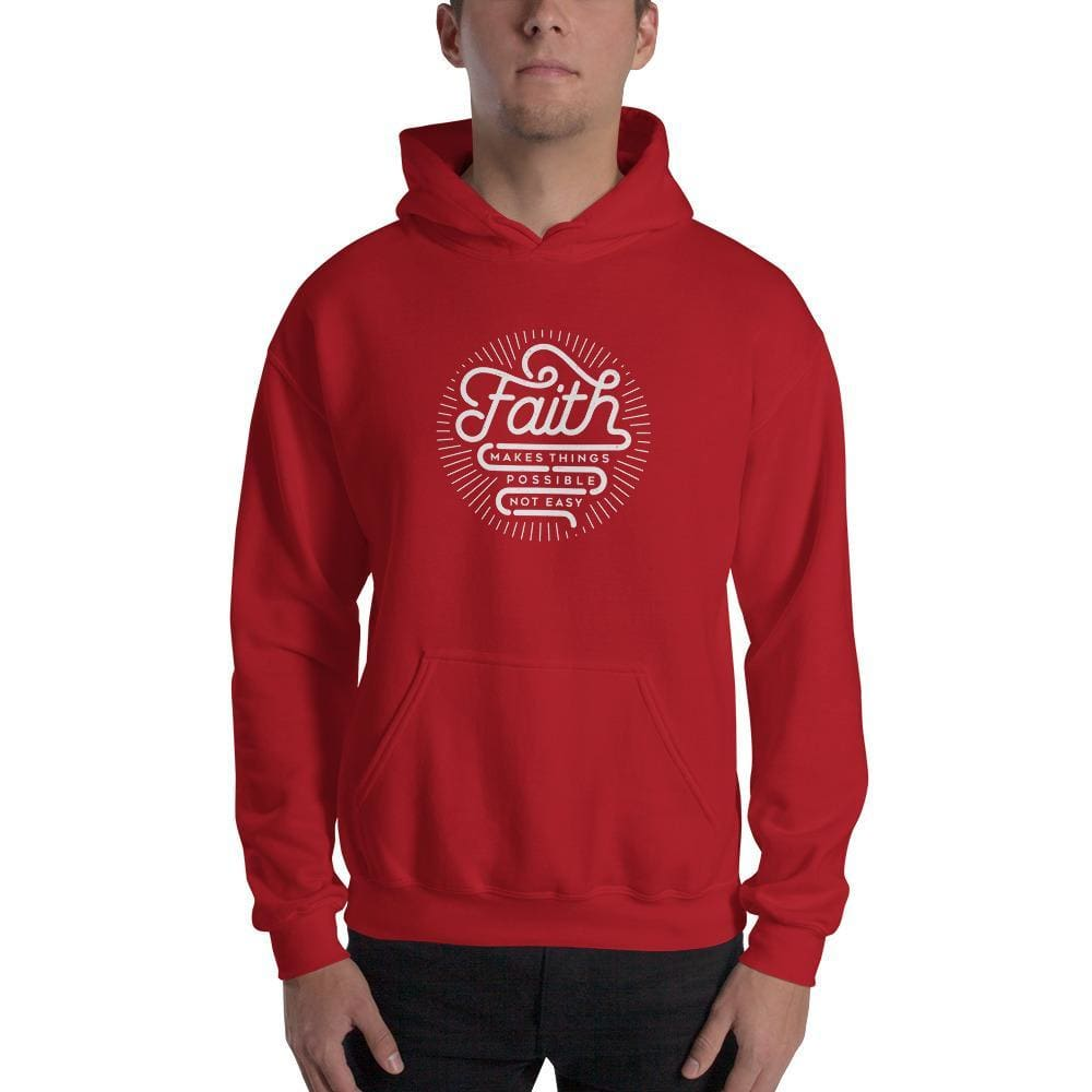 Faith Makes Things Possible Not Easy Christian Hoodie Sweatshirt - S / Red - Sweatshirts