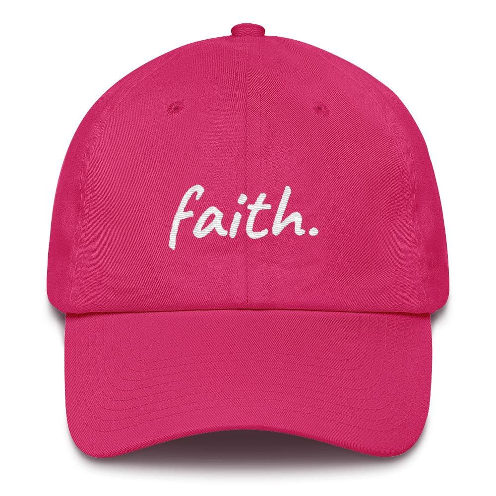 Faith Scribble Christian Cotton Baseball Cap - One-size / Bright Pink - Hats