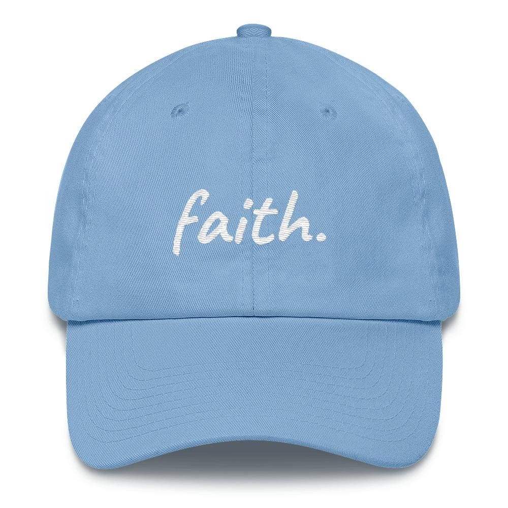 Faith Scribble Christian Cotton Baseball Cap - One-size / Carolina Blue - Hats