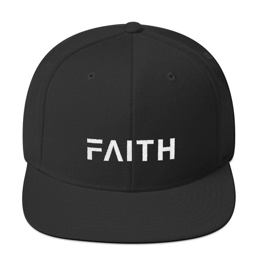 Faith Snapback Hat with Flat Brim - One-size / Black - Hats