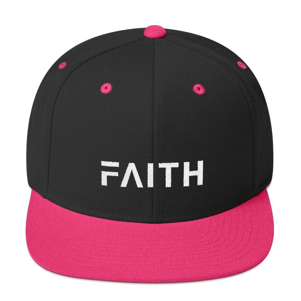 Faith Snapback Hat with Flat Brim - One-size / Black/ Neon Pink - Hats