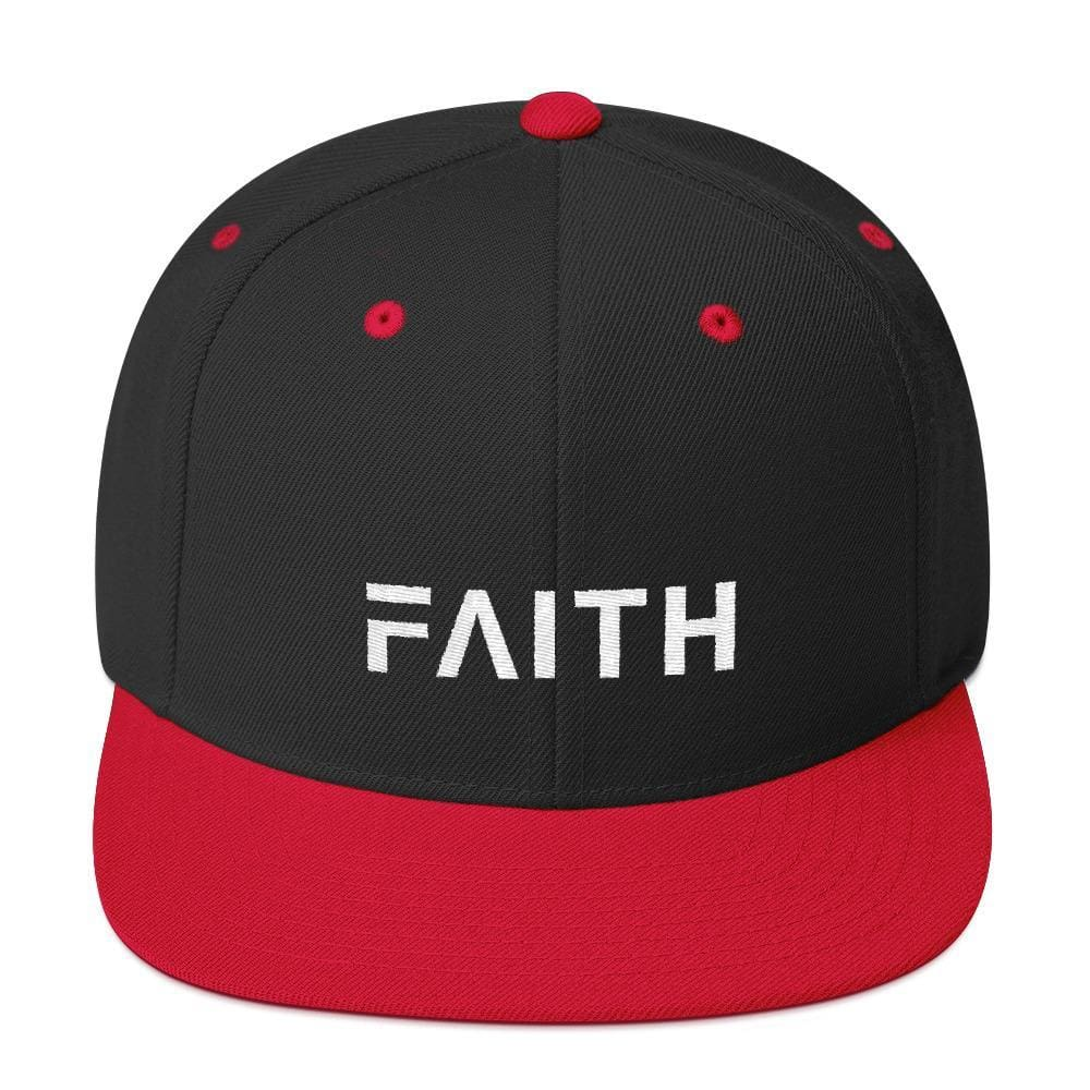 Faith Snapback Hat with Flat Brim - One-size / Black/ Red - Hats