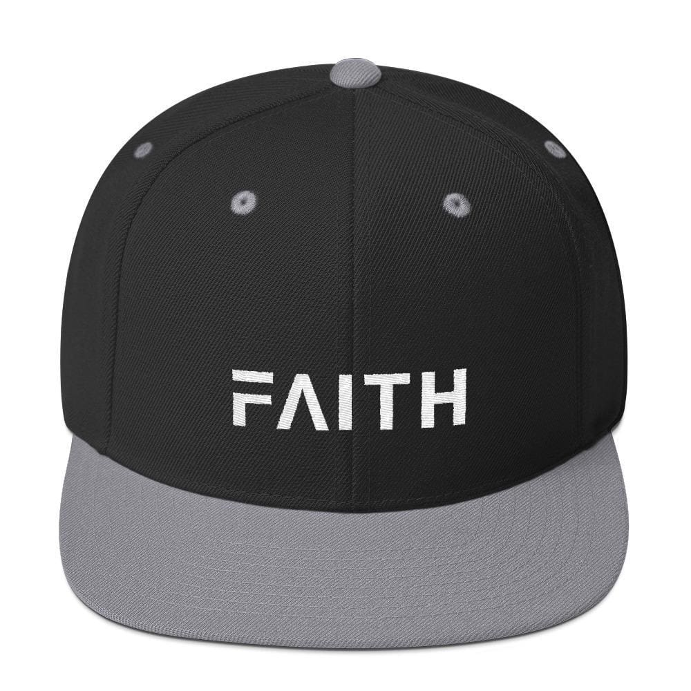 Faith Snapback Hat with Flat Brim - One-size / Black/ Silver - Hats