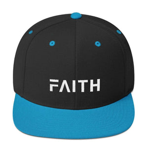 Faith Snapback Hat with Flat Brim - One-size / Black/ Teal - Hats