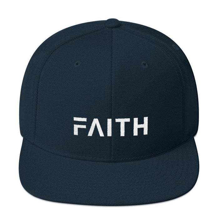 Faith Snapback Hat with Flat Brim - One-size / Dark Navy - Hats