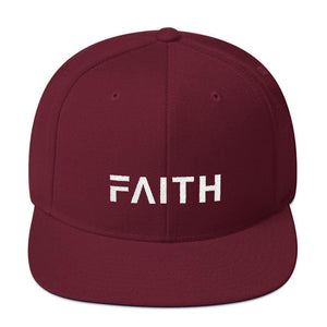 Faith Snapback Hat with Flat Brim - One-size / Maroon - Hats