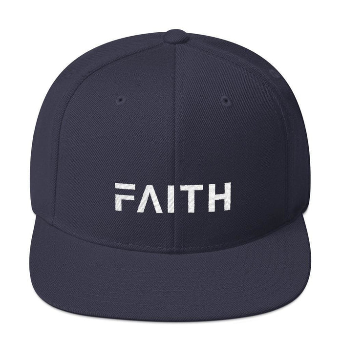Faith Snapback Hat with Flat Brim - One-size / Navy - Hats