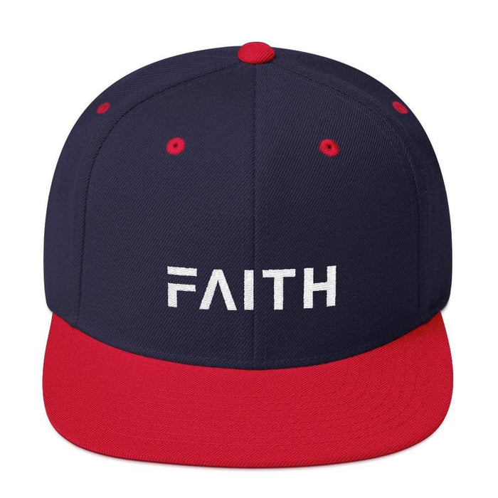 Faith Snapback Hat with Flat Brim - One-size / Navy/ Red - Hats