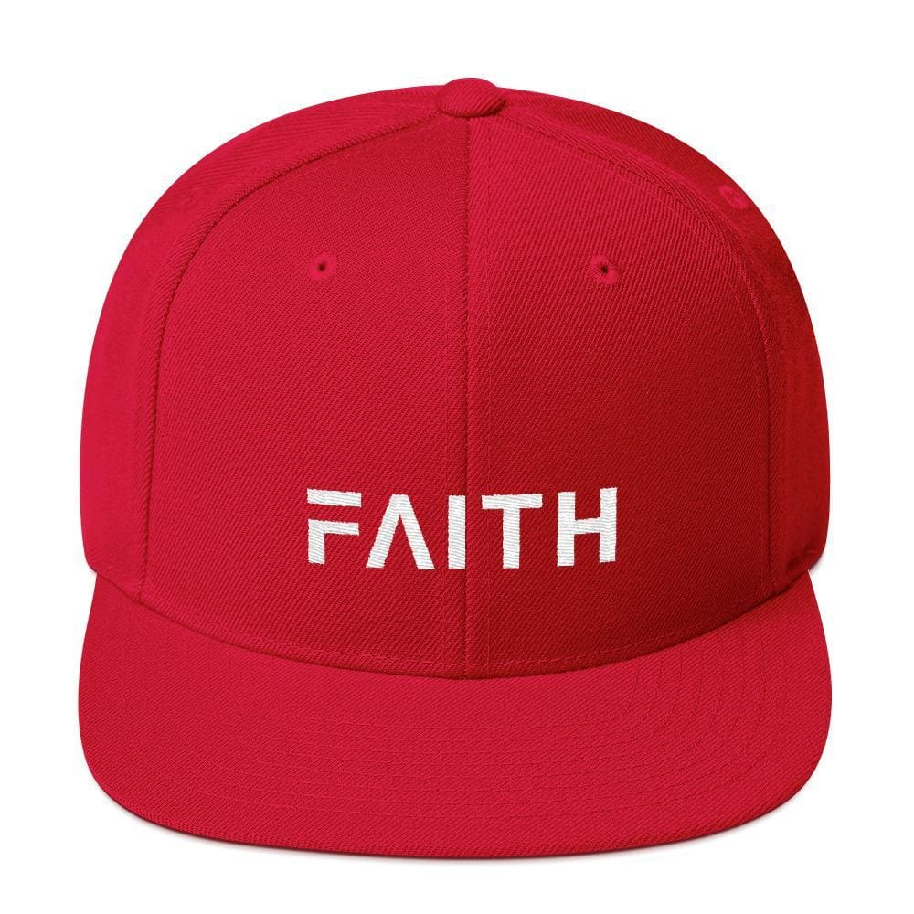 Faith Snapback Hat with Flat Brim - One-size / Red - Hats