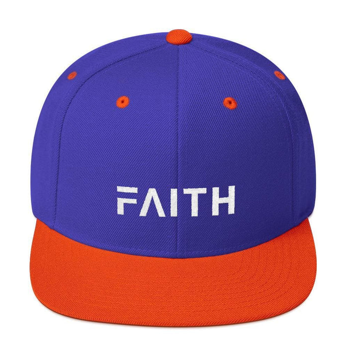 Faith Snapback Hat with Flat Brim - One-size / Royal/ Orange - Hats