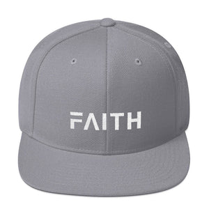 Faith Snapback Hat with Flat Brim - One-size / Silver - Hats