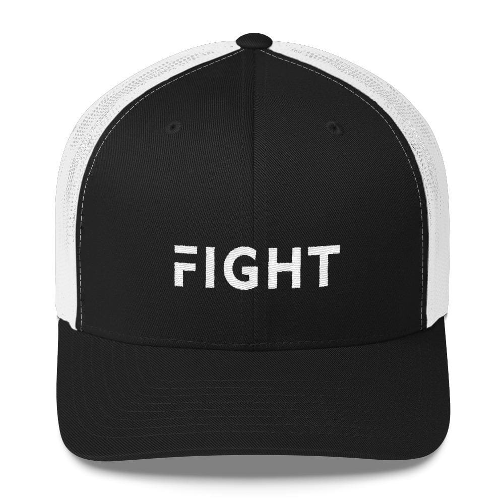 Load image into Gallery viewer, Fight Snapback Trucker Hat Embroidered in White Thread - One-size / Black/ White - Hats