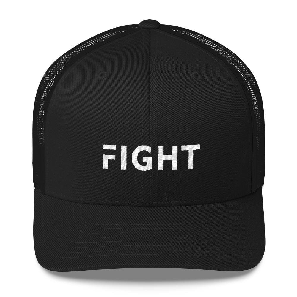 Fight Snapback Trucker Hat Embroidered in White Thread - One-size / Black - Hats