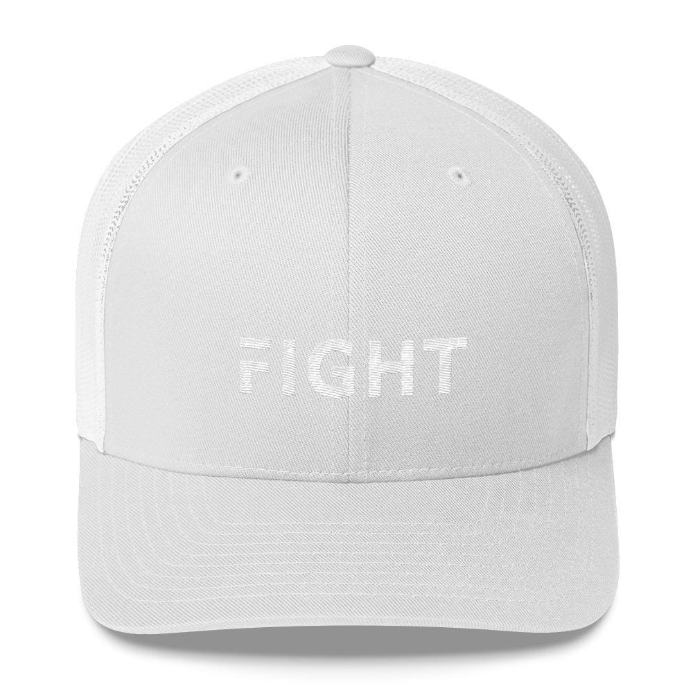 Fight Snapback Trucker Hat Embroidered in White Thread - One-size / White - Hats
