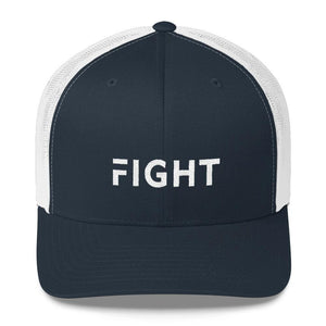 Fight Snapback Trucker Hat Embroidered in White Thread - One-size / Navy/ White - Hats