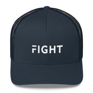 Fight Snapback Trucker Hat Embroidered in White Thread - One-size / Navy - Hats