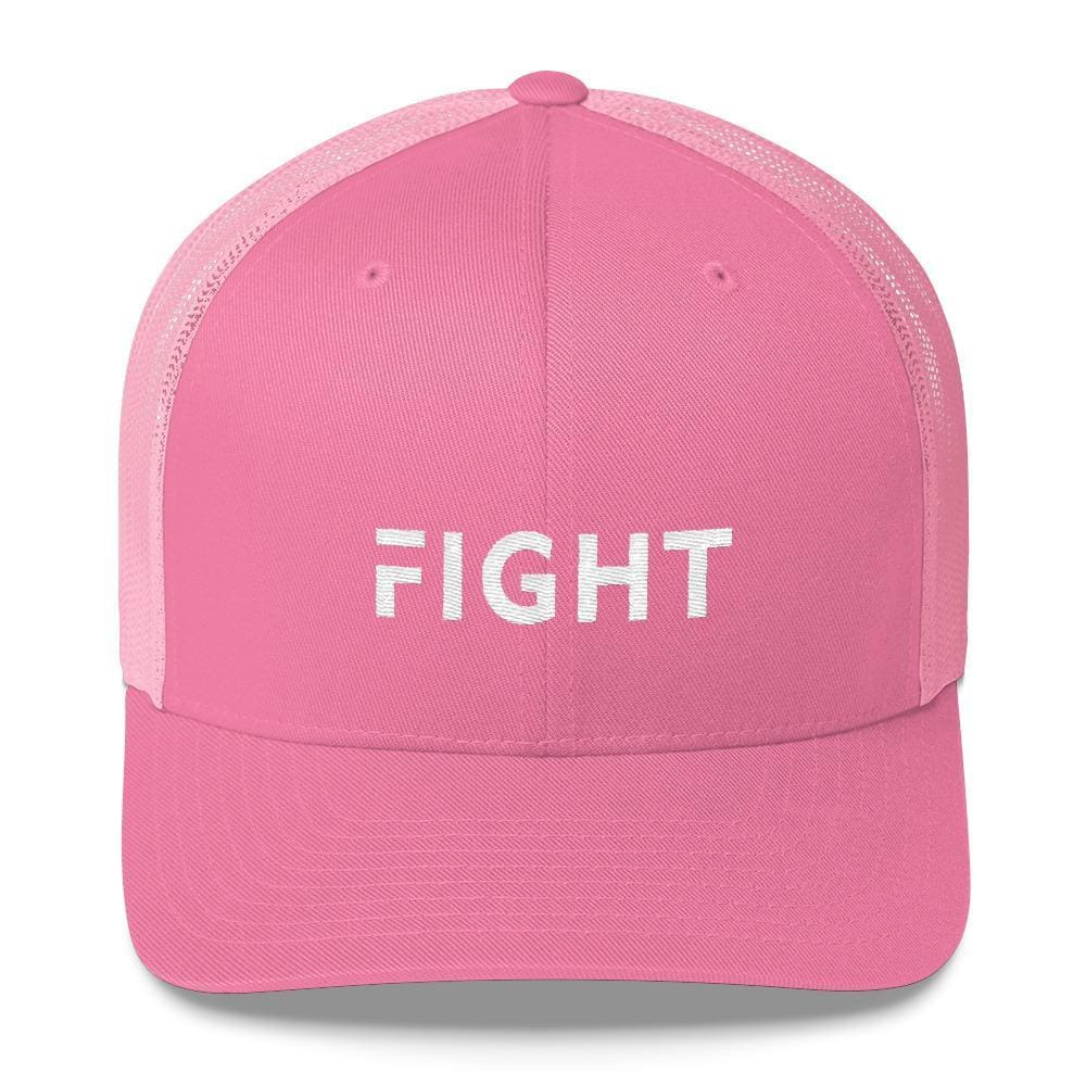 Fight Snapback Trucker Hat Embroidered in White Thread - One-size / Pink - Hats