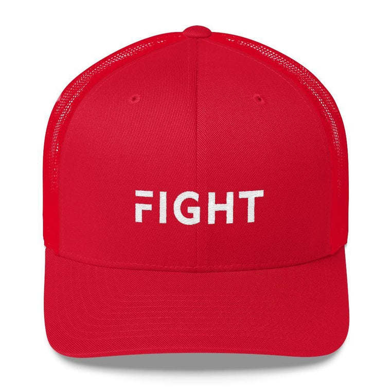 Fight Snapback Trucker Hat Embroidered in White Thread