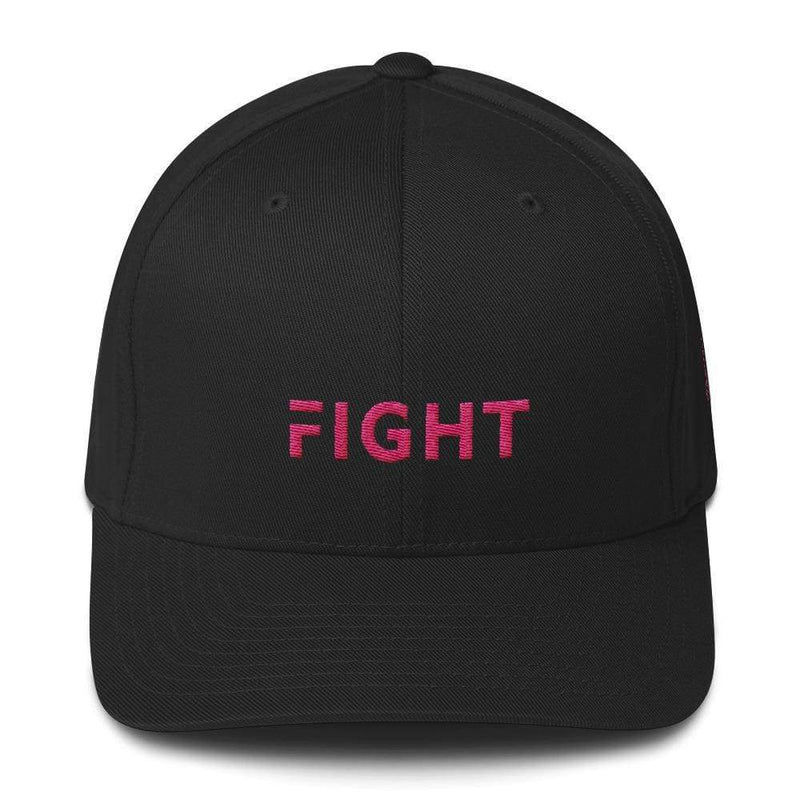 Fitted Breast Cancer Awareness Hat With Fight & Pink Ribbon - S/m / Black - Hats
