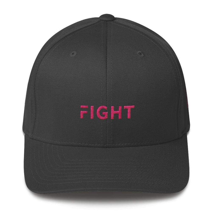 Fitted Breast Cancer Awareness Hat With Fight & Pink Ribbon - S/m / Dark Grey - Hats