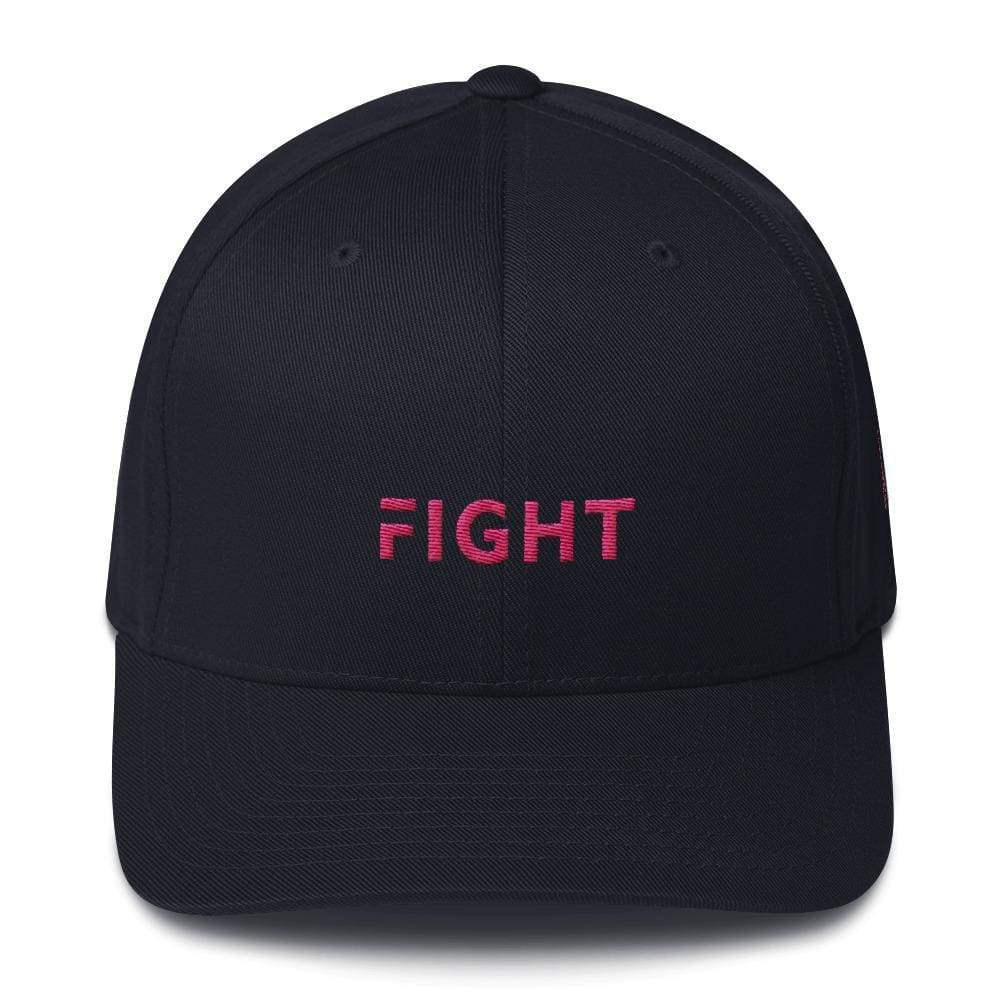 Fitted Breast Cancer Awareness Hat With Fight & Pink Ribbon - S/m / Dark Navy - Hats