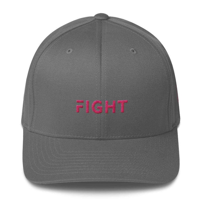 Fitted Breast Cancer Awareness Hat With Fight & Pink Ribbon - S/m / Grey - Hats