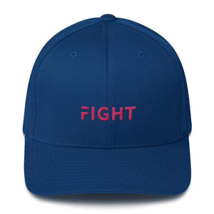 Fitted Breast Cancer Awareness Hat With Fight & Pink Ribbon - S/m / Royal Blue - Hats