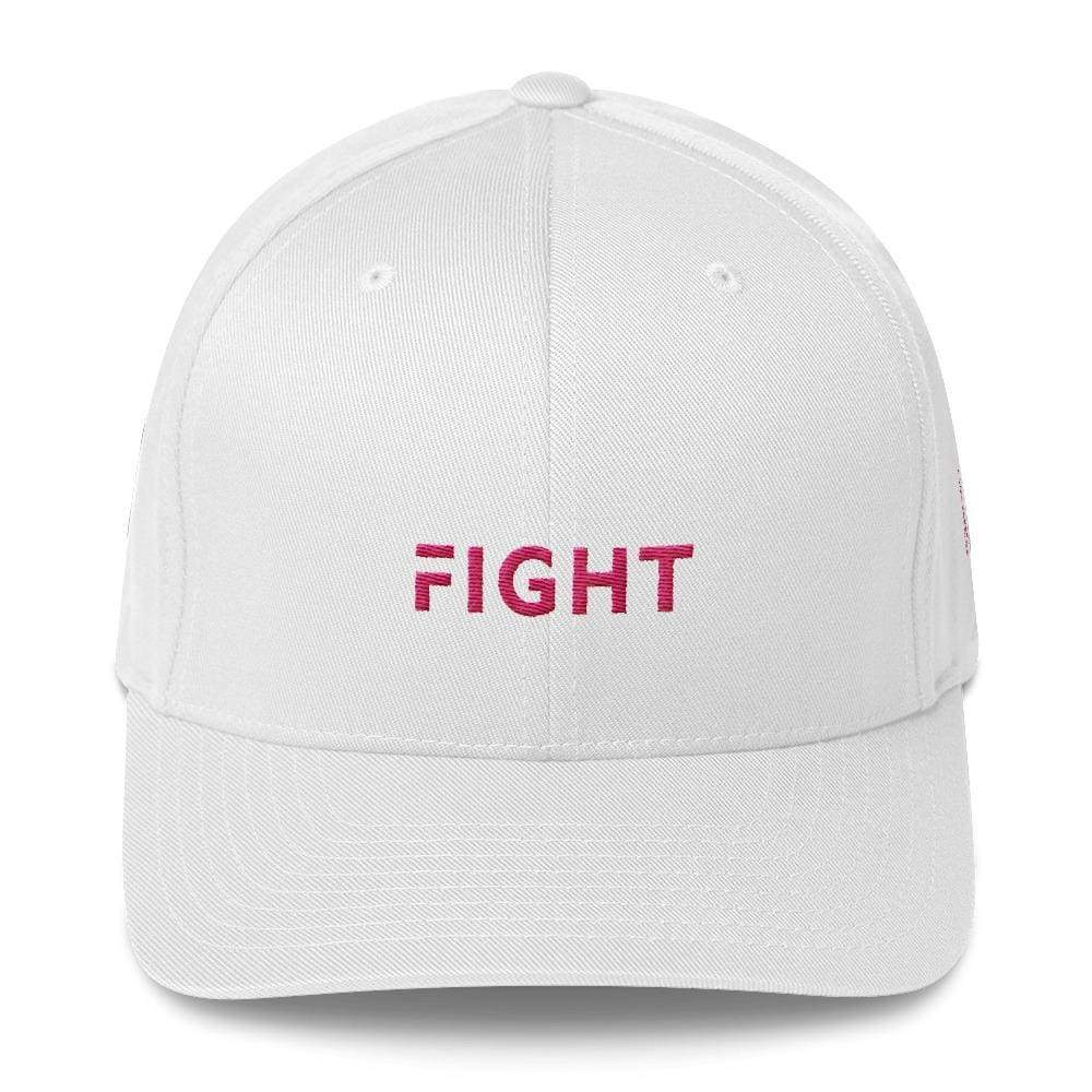 Fitted Breast Cancer Awareness Hat With Fight & Pink Ribbon - S/m / White - Hats