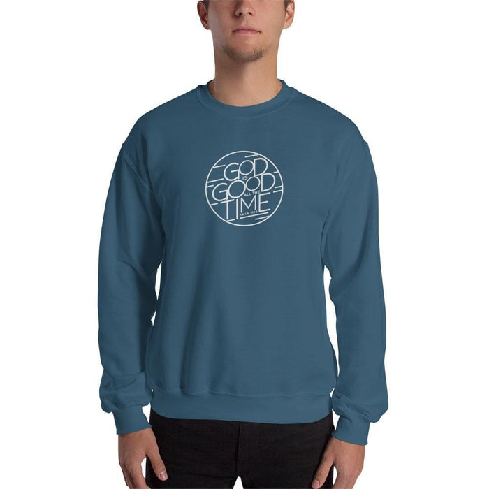God is Good All the Time Christian Crewneck Sweatshirt - S / Indigo Blue - Sweatshirts