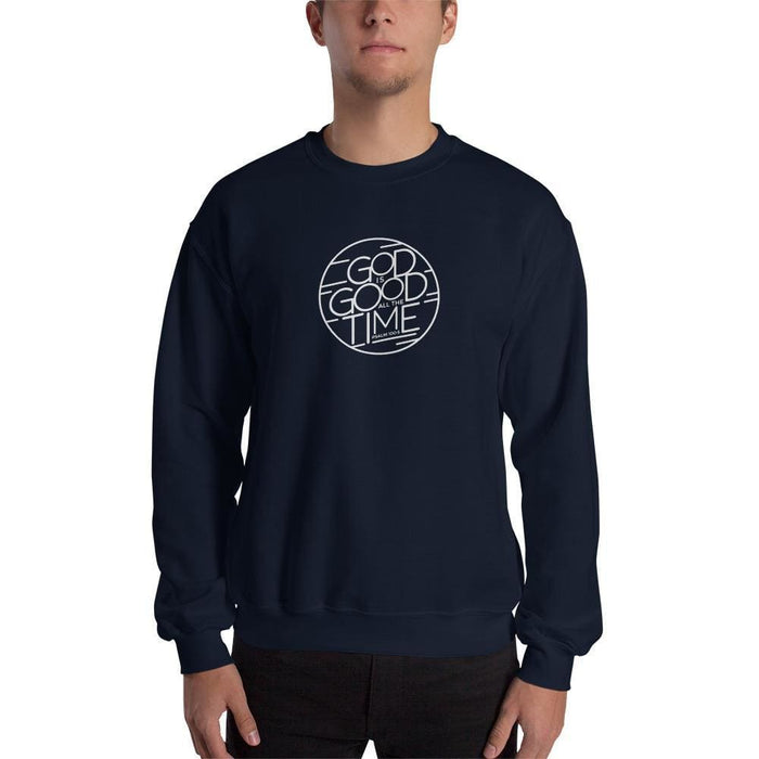 God is Good All the Time Christian Crewneck Sweatshirt - S / Navy - Sweatshirts