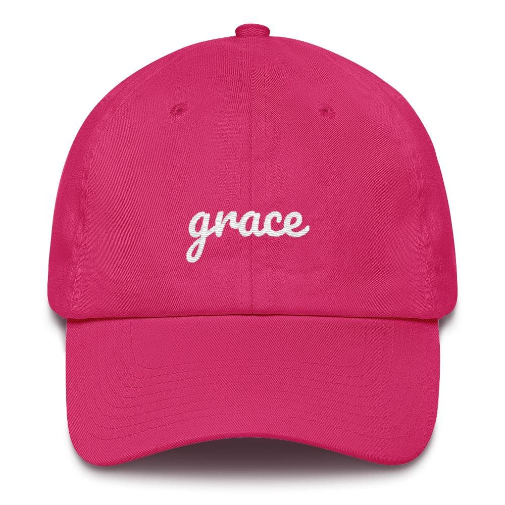 Load image into Gallery viewer, Grace Scribble Christian Adjustable Cotton Baseball Cap - One-size / Bright Pink - Hats