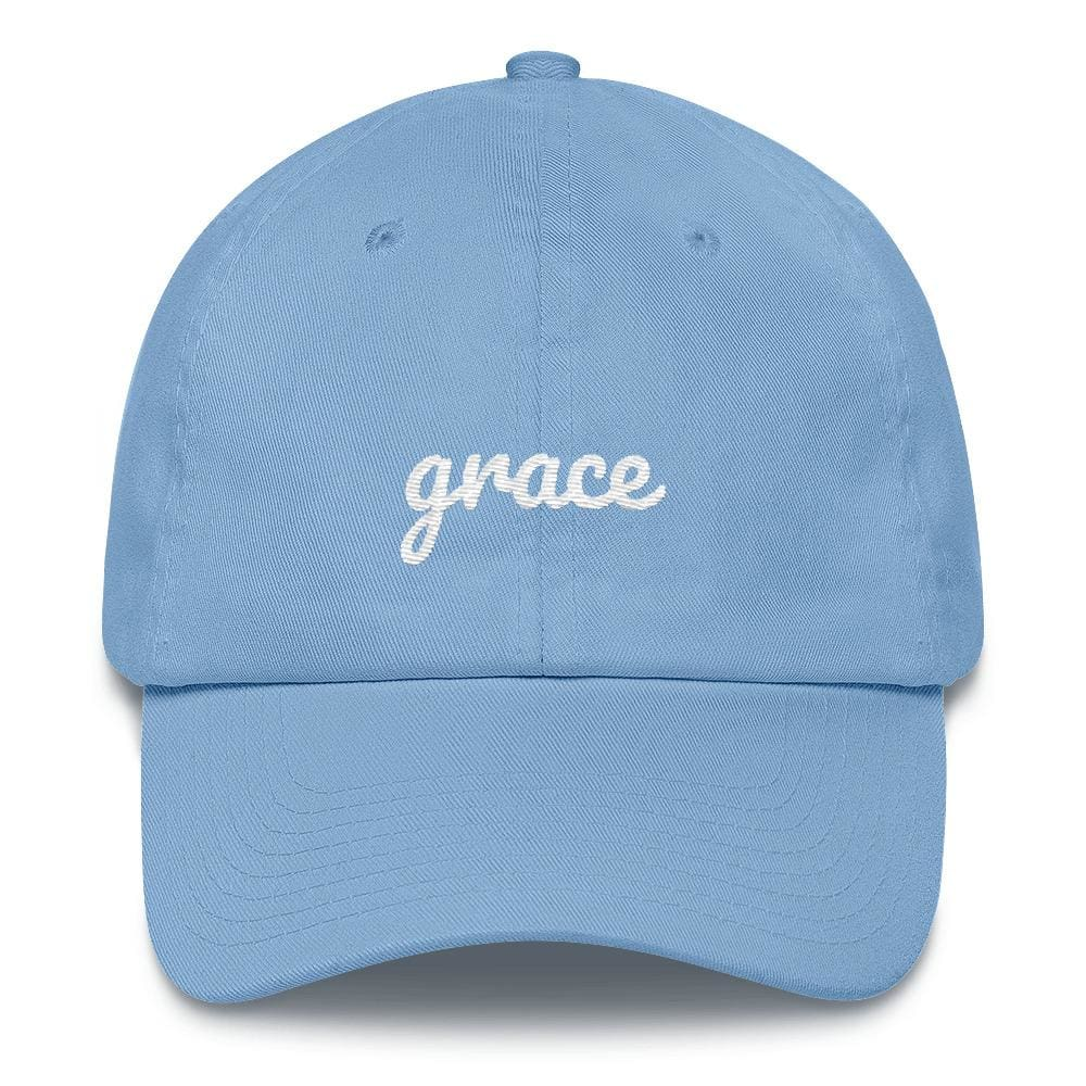 Grace Scribble Christian Adjustable Cotton Baseball Cap - One-size / Carolina Blue - Hats