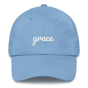 Load image into Gallery viewer, Grace Scribble Christian Adjustable Cotton Baseball Cap - One-size / Carolina Blue - Hats