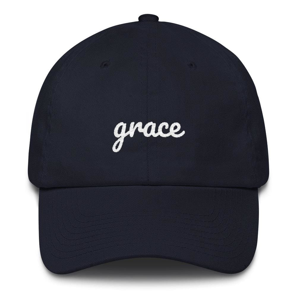 Load image into Gallery viewer, Grace Scribble Christian Adjustable Cotton Baseball Cap - One-size / Navy - Hats