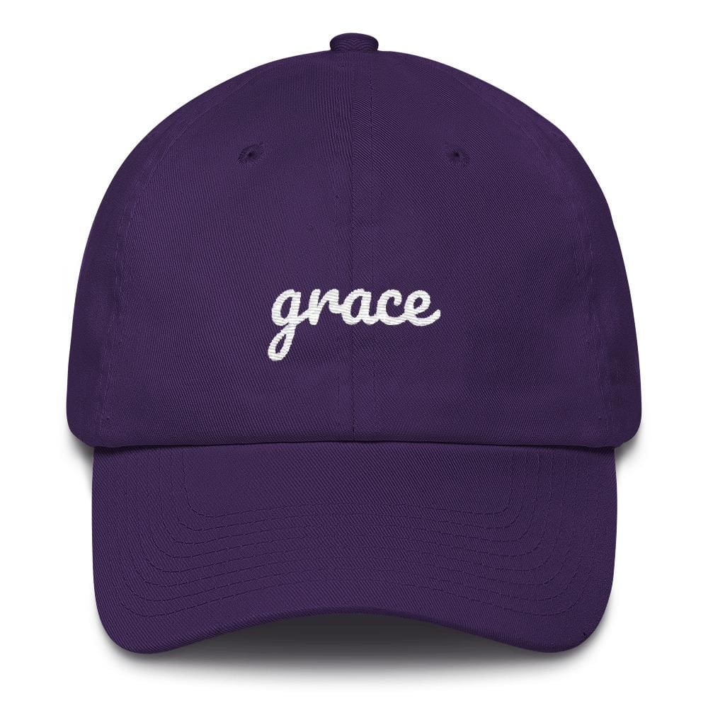 Load image into Gallery viewer, Grace Scribble Christian Adjustable Cotton Baseball Cap - One-size / Purple - Hats