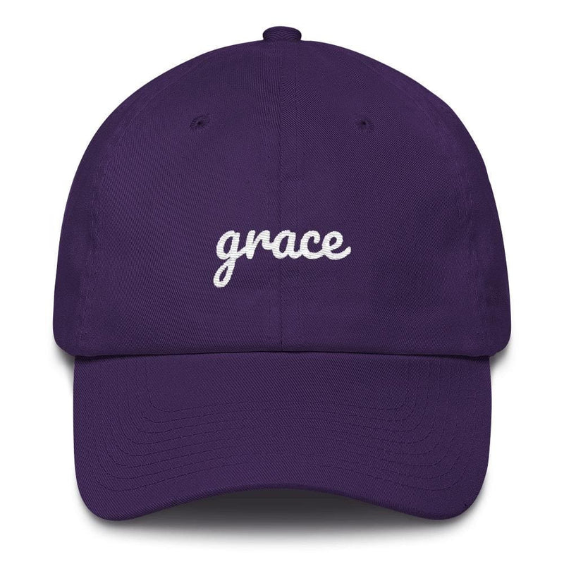 Grace Scribble Christian Adjustable Cotton Baseball Cap - One-size / Purple - Hats