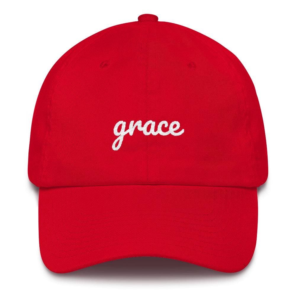 Load image into Gallery viewer, Grace Scribble Christian Adjustable Cotton Baseball Cap - One-size / Red - Hats